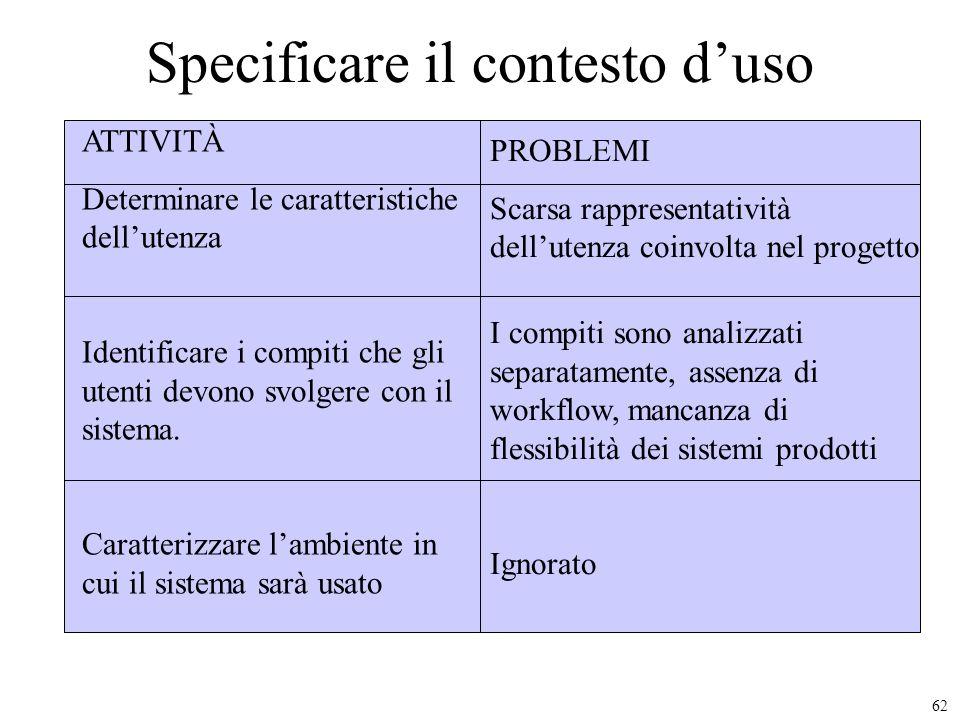 Specificare il contesto d'uso