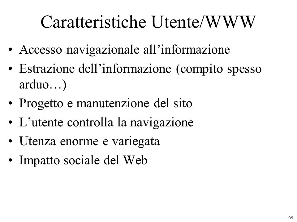 Caratteristiche Utente/WWW