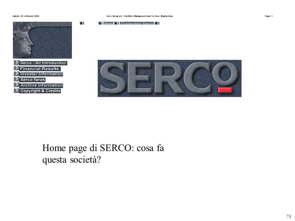 Home page di SERCO: cosa fa questa società