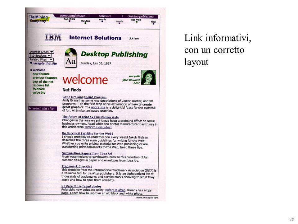Link informativi, con un corretto layout