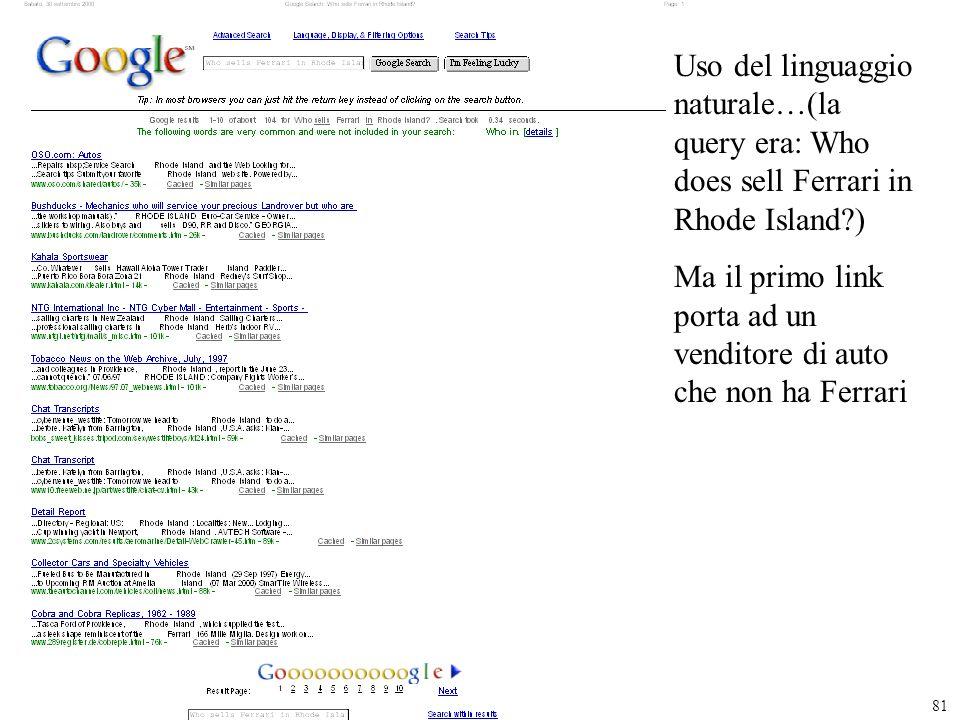 Uso del linguaggio naturale…(la query era: Who does sell Ferrari in Rhode Island )
