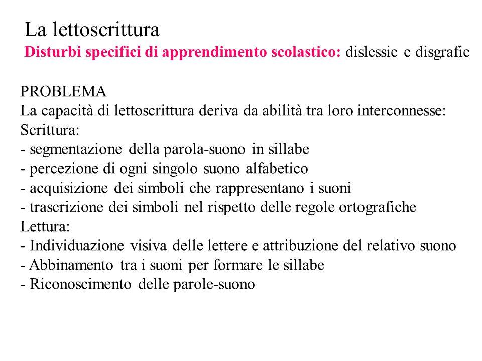 La lettoscrittura Disturbi specifici di apprendimento scolastico: dislessie e disgrafie. PROBLEMA.