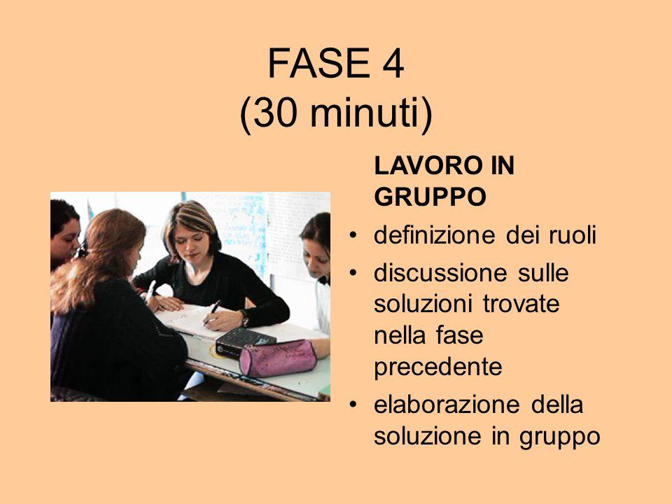 FASE 4 (30 minuti) LAVORO IN GRUPPO definizione dei ruoli