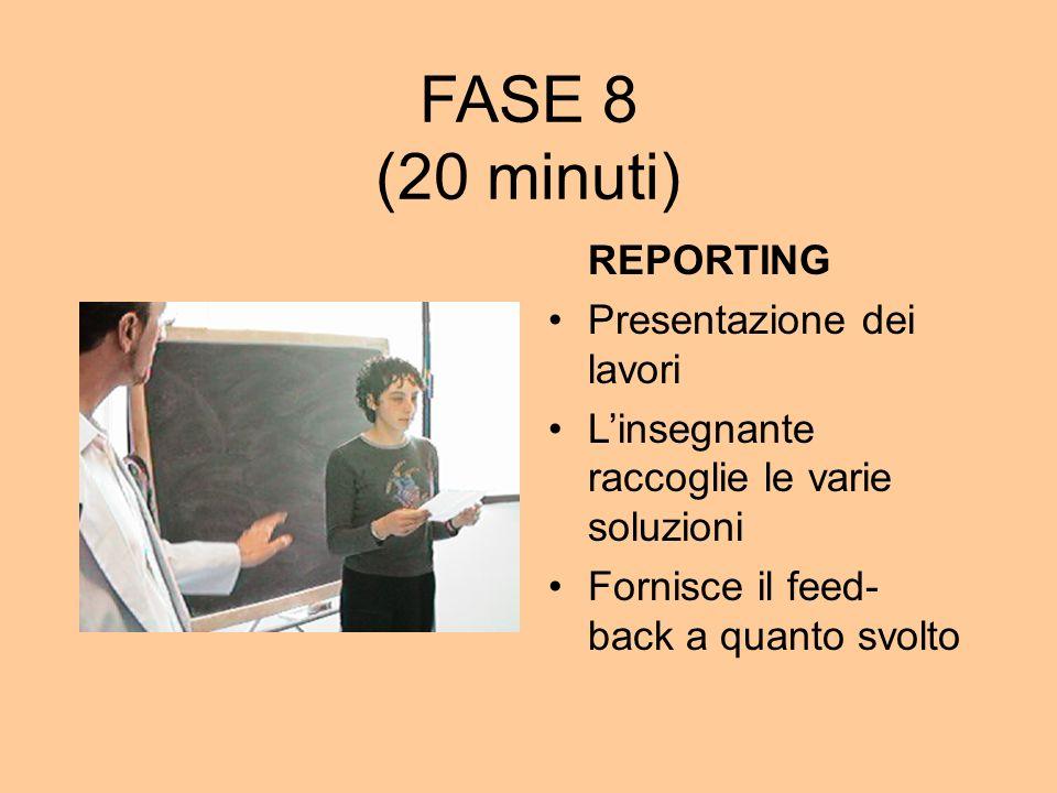 FASE 8 (20 minuti) REPORTING Presentazione dei lavori