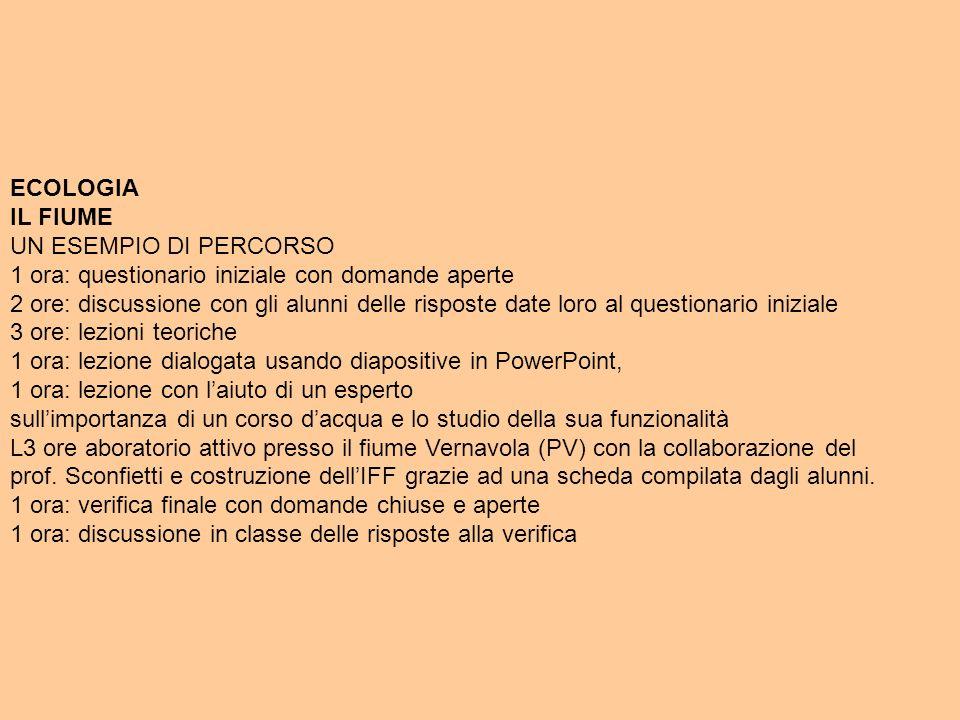 ECOLOGIA IL FIUME. UN ESEMPIO DI PERCORSO. 1 ora: questionario iniziale con domande aperte.