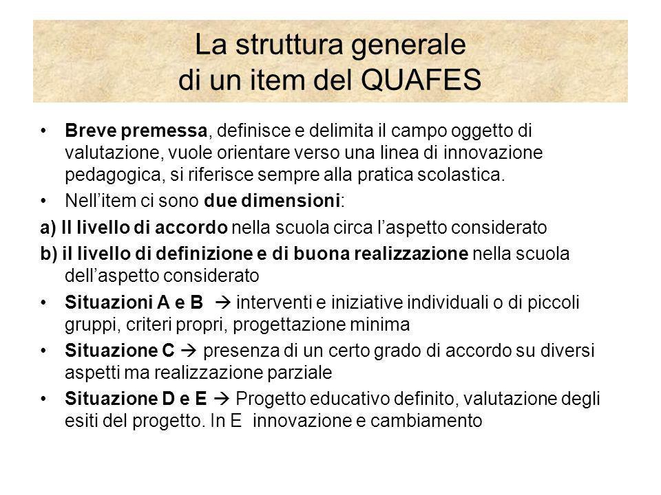 La struttura generale di un item del QUAFES