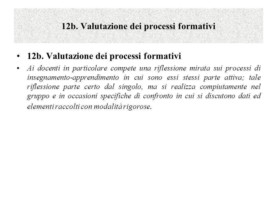 12b. Valutazione dei processi formativi