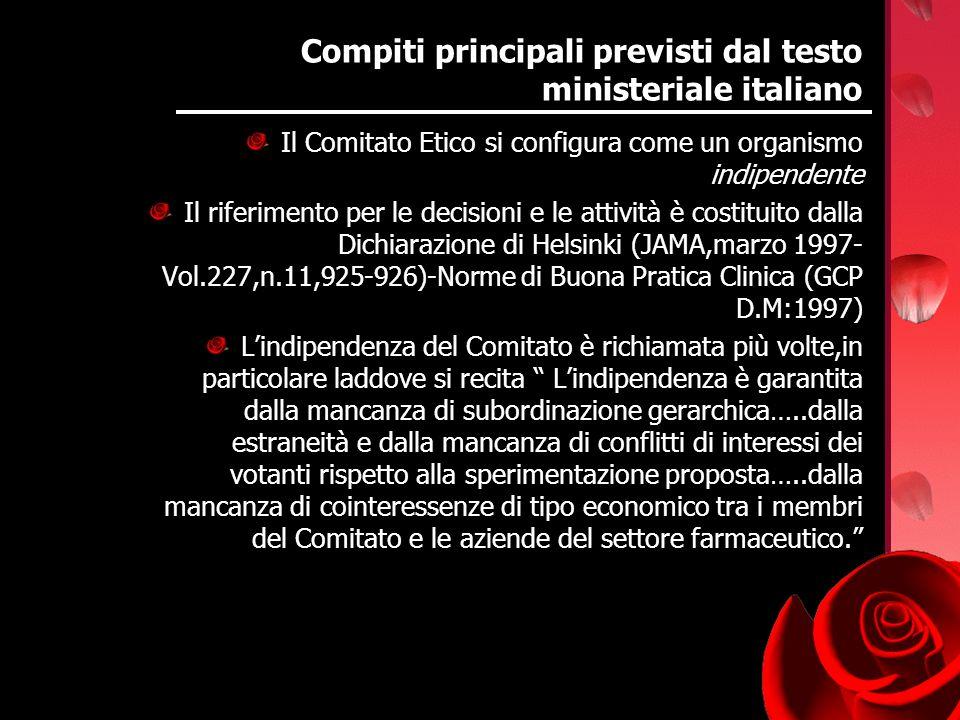 Compiti principali previsti dal testo ministeriale italiano