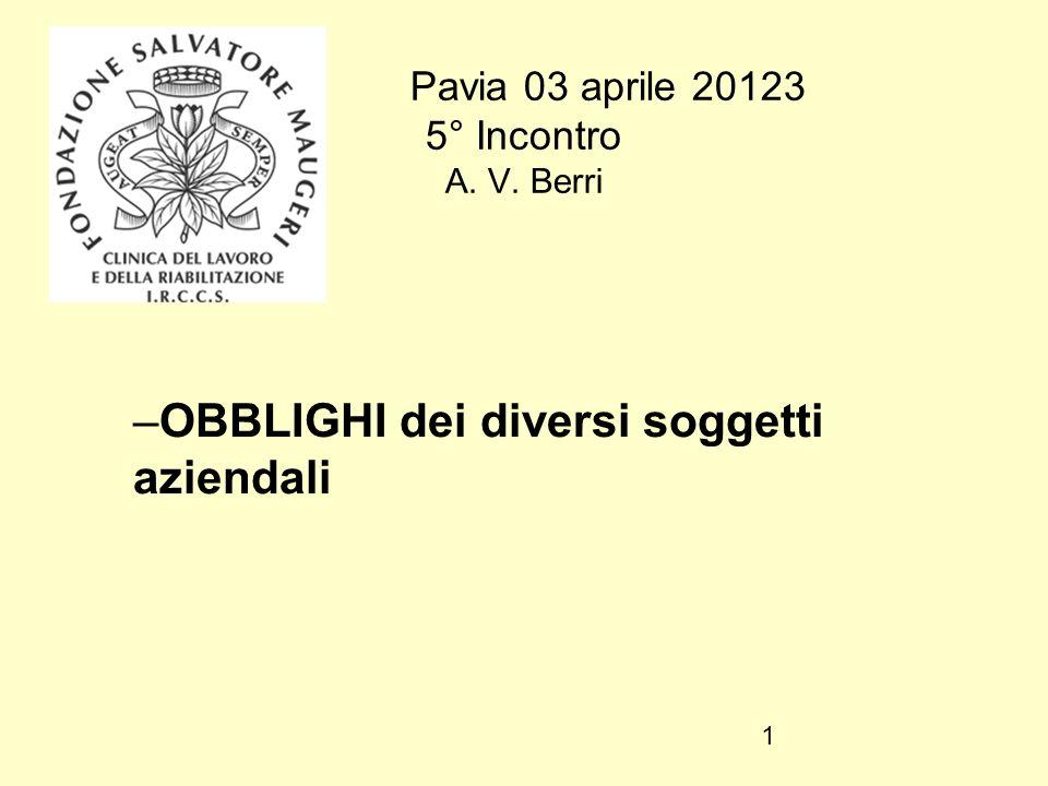 Pavia 03 aprile 20123 5° Incontro A. V. Berri