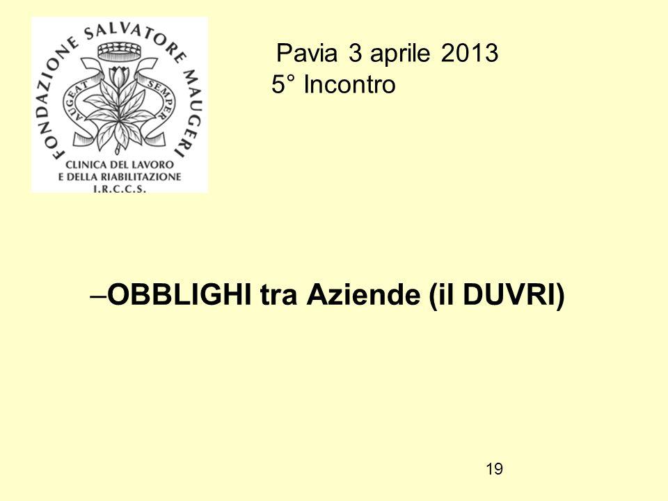 Pavia 3 aprile 2013 5° Incontro