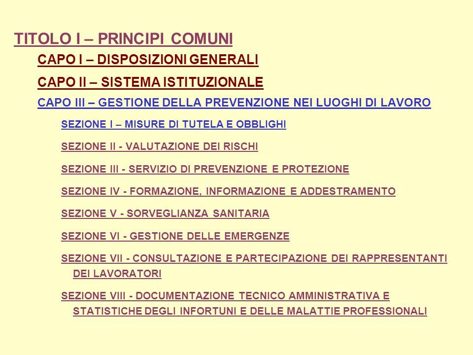 TITOLO I – PRINCIPI COMUNI