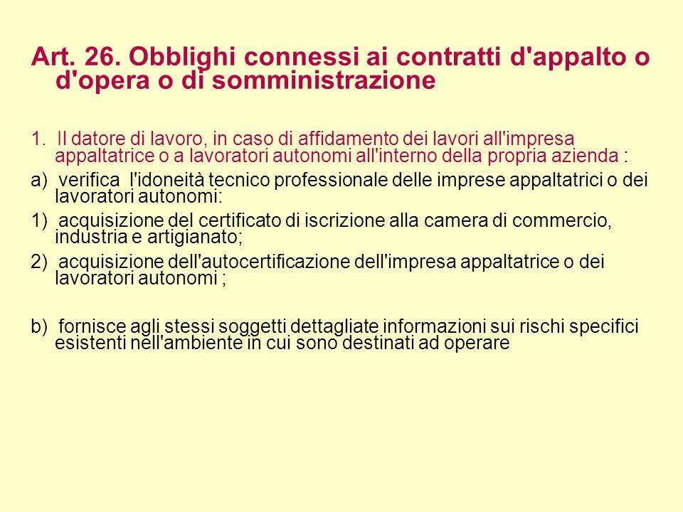 Art. 26. Obblighi connessi ai contratti d appalto o d opera o di somministrazione