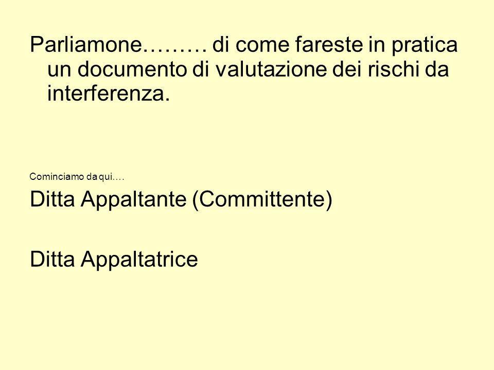 Ditta Appaltante (Committente) Ditta Appaltatrice