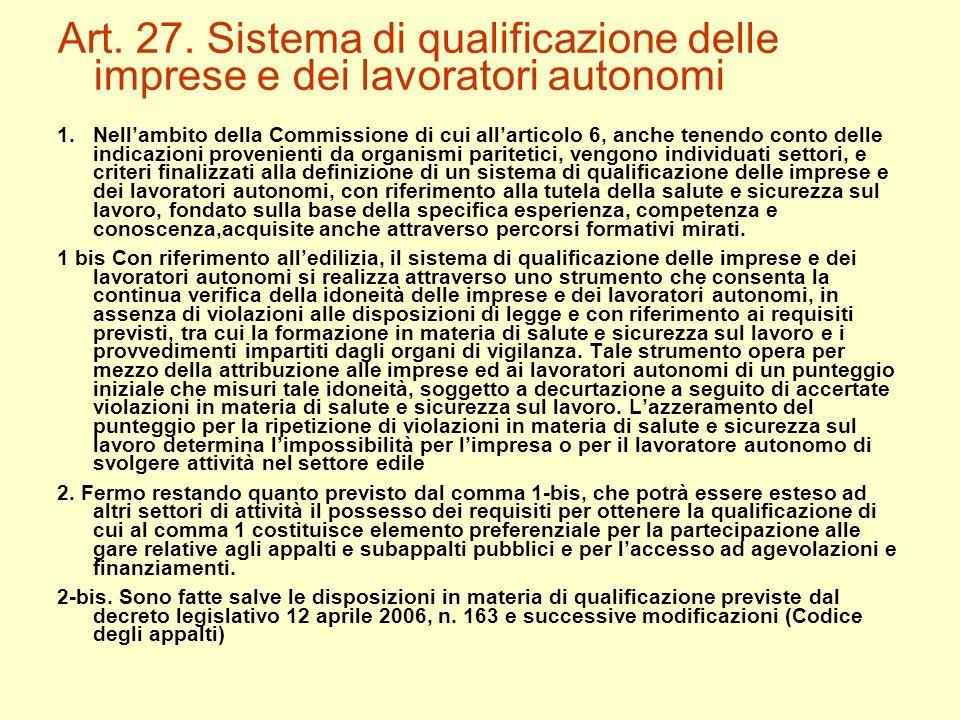 Art. 27. Sistema di qualificazione delle imprese e dei lavoratori autonomi