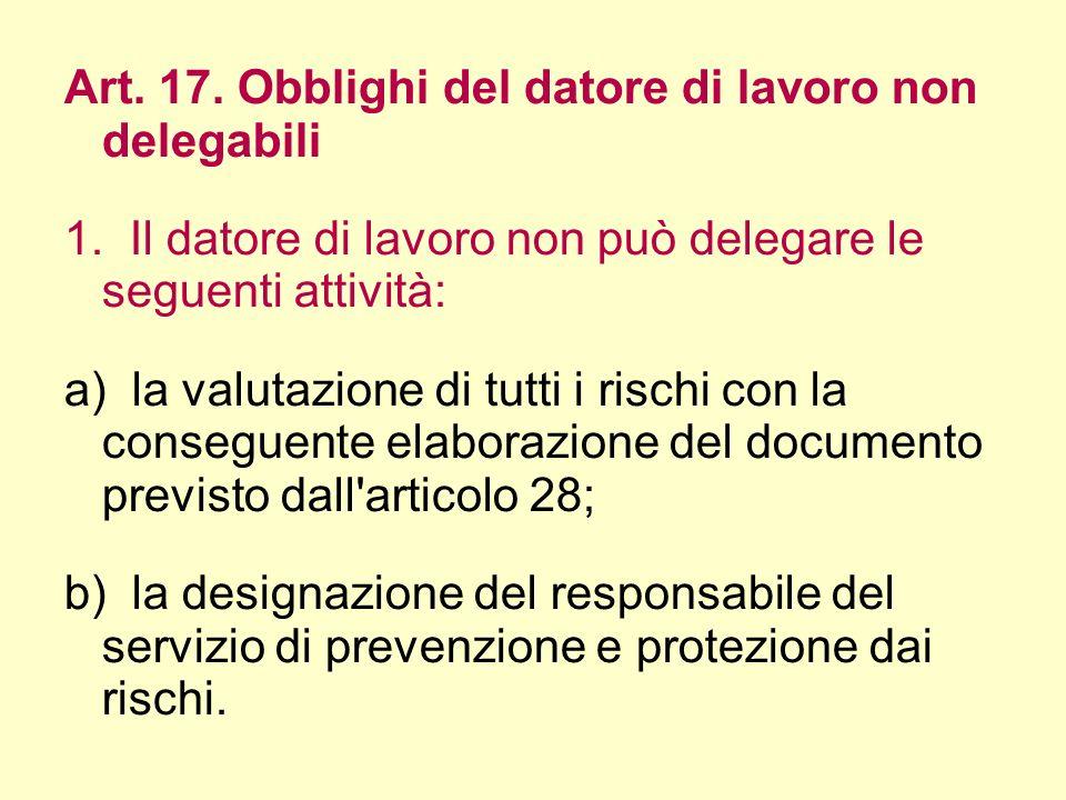 Art. 17. Obblighi del datore di lavoro non delegabili