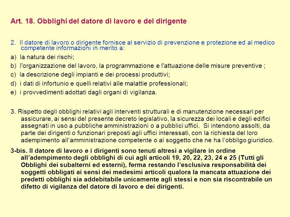 Art. 18. Obblighi del datore di lavoro e del dirigente