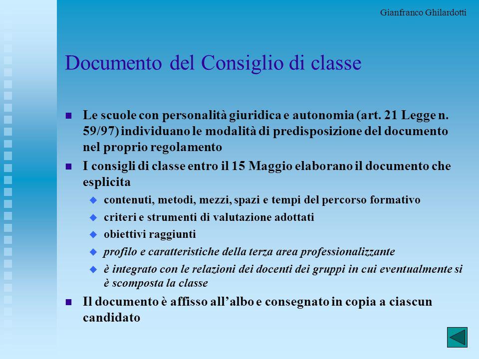 Documento del Consiglio di classe