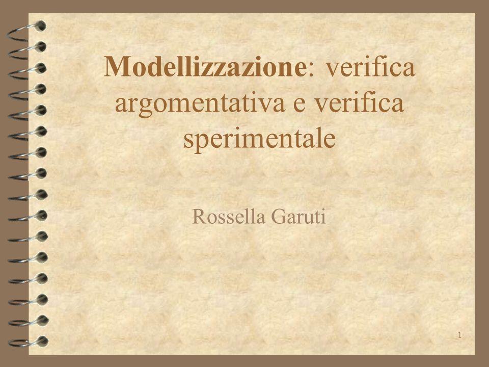 Modellizzazione: verifica argomentativa e verifica sperimentale