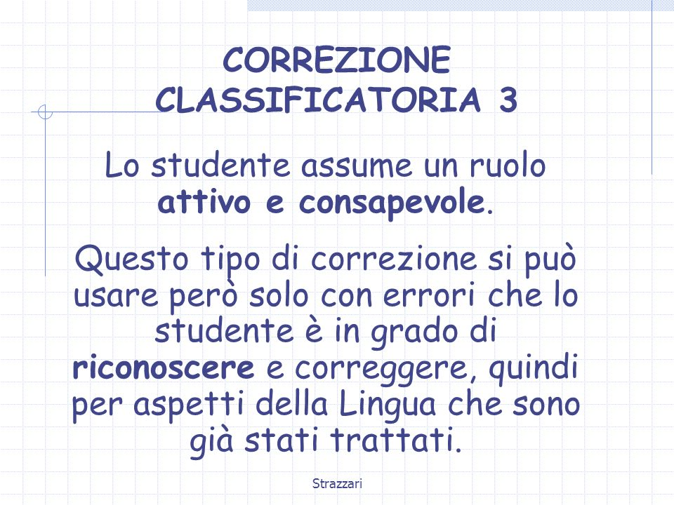 CORREZIONE CLASSIFICATORIA 3