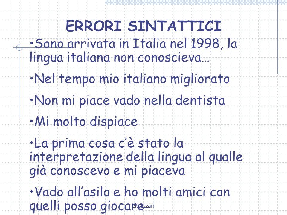 ERRORI SINTATTICI Sono arrivata in Italia nel 1998, la lingua italiana non conoscieva… Nel tempo mio italiano migliorato.