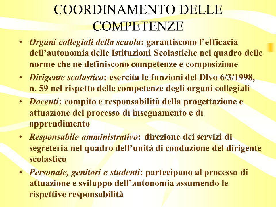 COORDINAMENTO DELLE COMPETENZE
