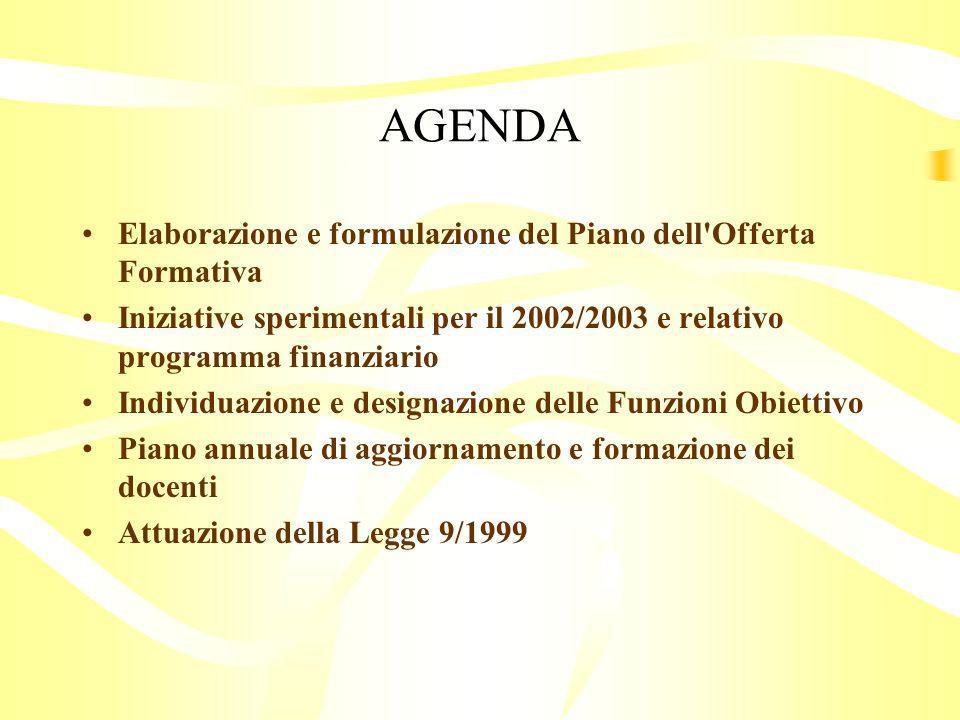 AGENDA Elaborazione e formulazione del Piano dell Offerta Formativa