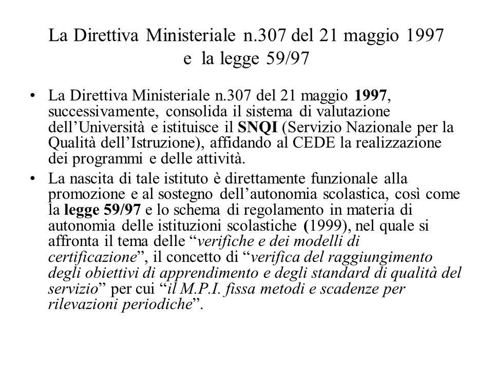 La Direttiva Ministeriale n.307 del 21 maggio 1997 e la legge 59/97