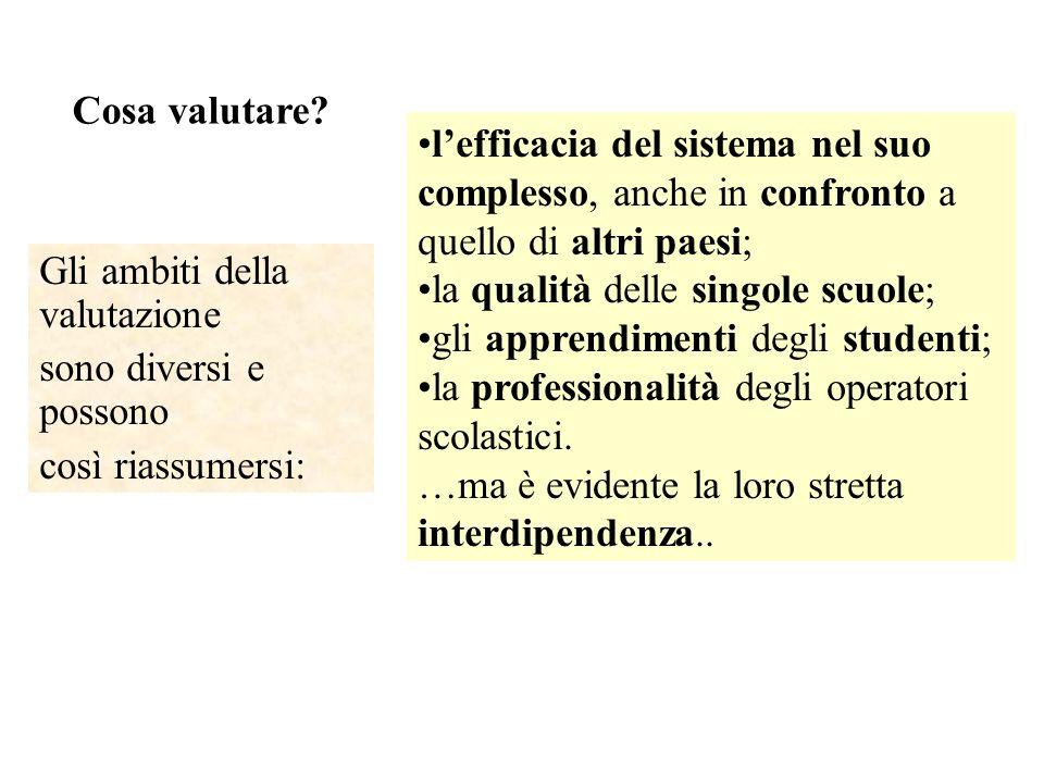 Cosa valutare l'efficacia del sistema nel suo complesso, anche in confronto a quello di altri paesi;