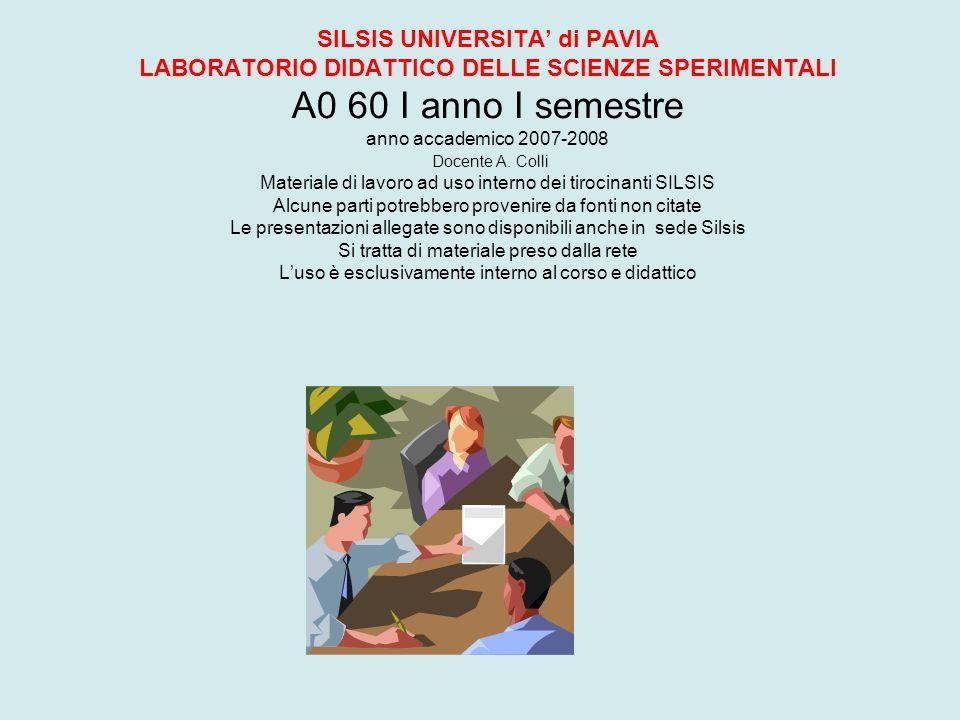 SILSIS UNIVERSITA' di PAVIA LABORATORIO DIDATTICO DELLE SCIENZE SPERIMENTALI A0 60 I anno I semestre anno accademico 2007-2008 Docente A.