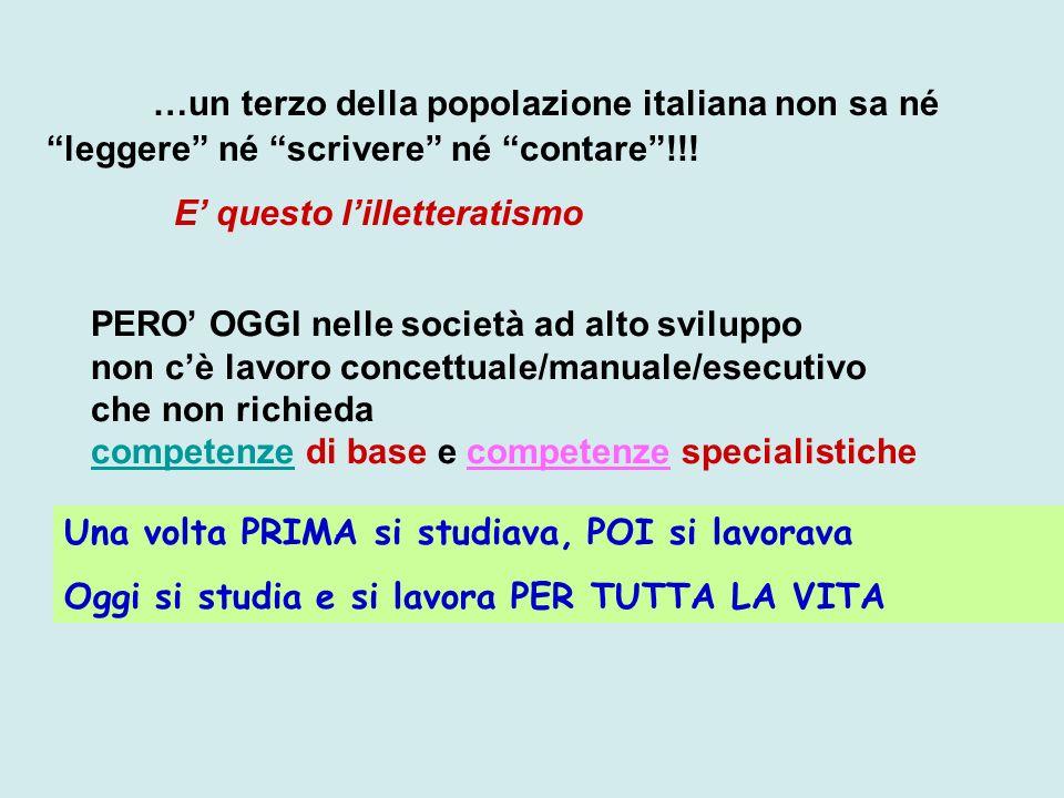 …un terzo della popolazione italiana non sa né leggere né scrivere né contare !!!