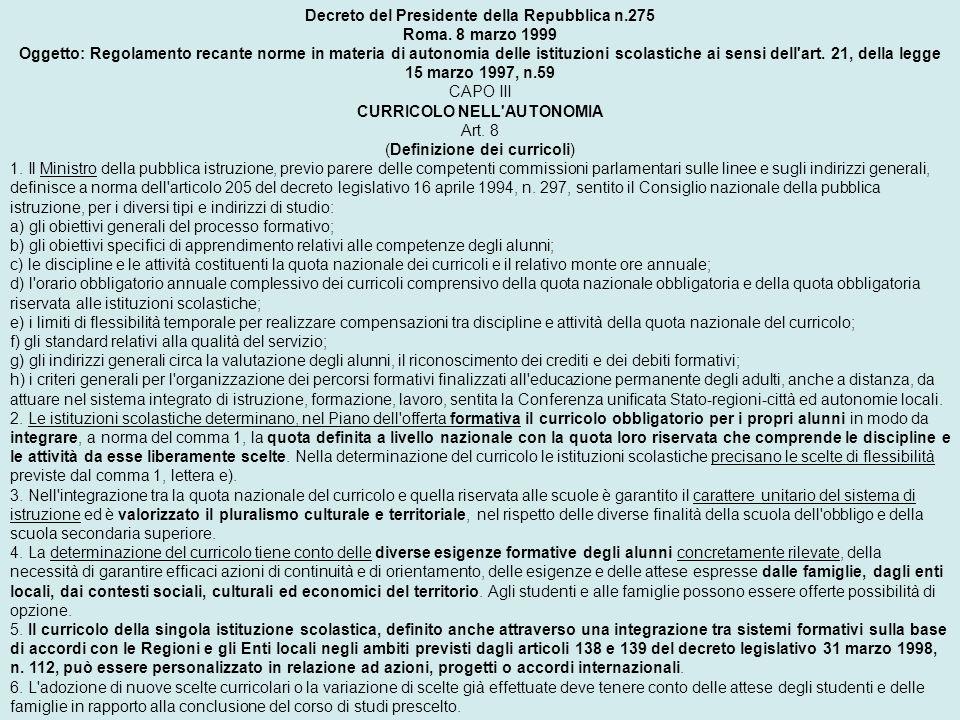 Decreto del Presidente della Repubblica n.275
