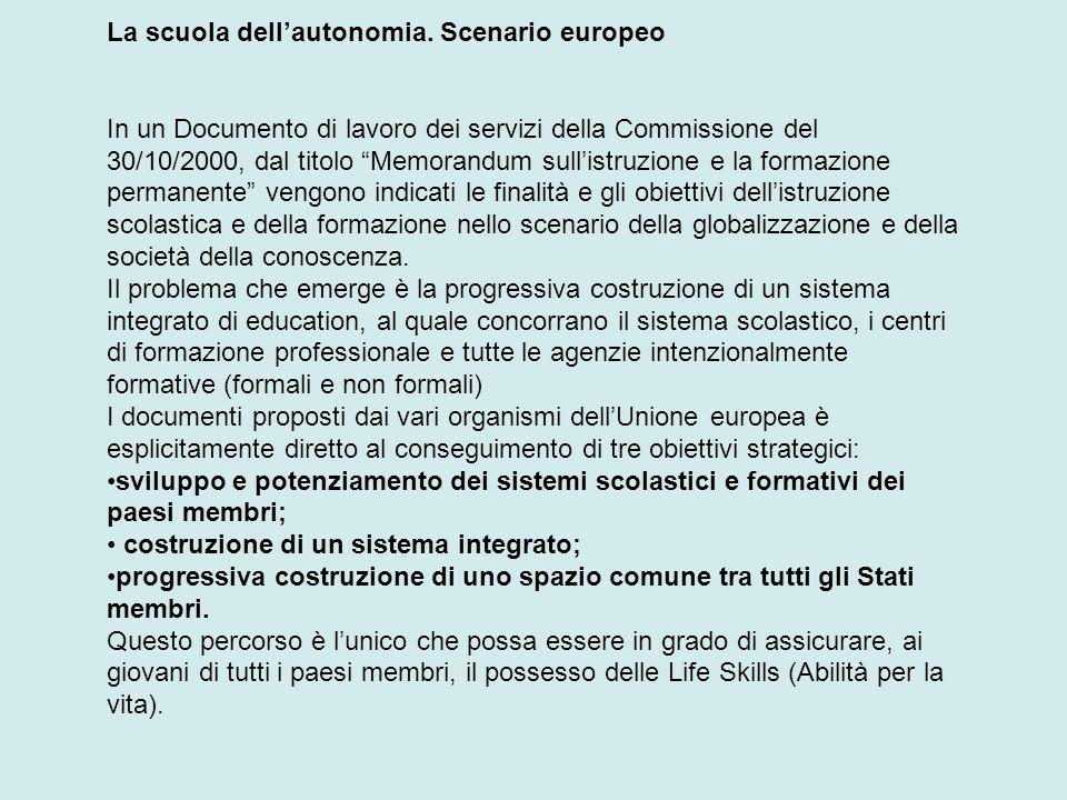 La scuola dell'autonomia. Scenario europeo