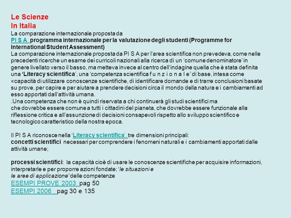 Le Scienze In Italia ESEMPI PROVE 2003 pag 50 ESEMPI 2006 pag 30 e 135