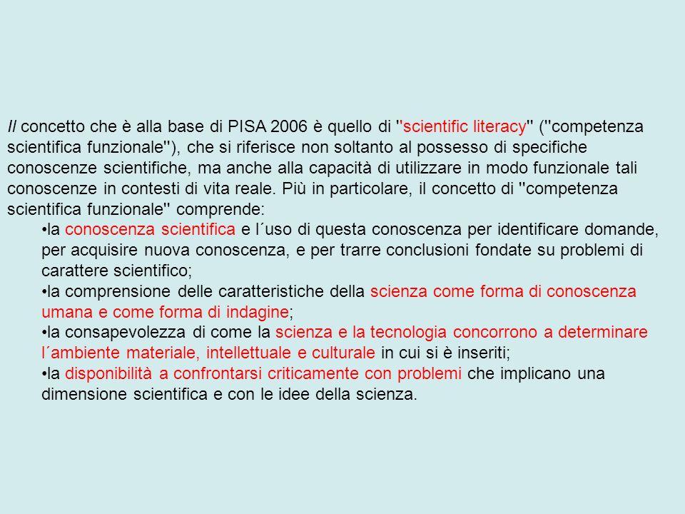 Il concetto che è alla base di PISA 2006 è quello di scientific literacy ( competenza scientifica funzionale ), che si riferisce non soltanto al possesso di specifiche conoscenze scientifiche, ma anche alla capacità di utilizzare in modo funzionale tali conoscenze in contesti di vita reale. Più in particolare, il concetto di competenza scientifica funzionale comprende: