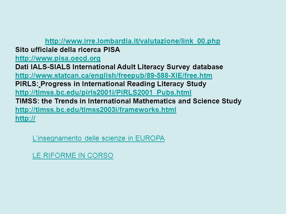 http://www.irre.lombardia.it/valutazione/link_00.php Sito ufficiale della ricerca PISA http://www.pisa.oecd.org.