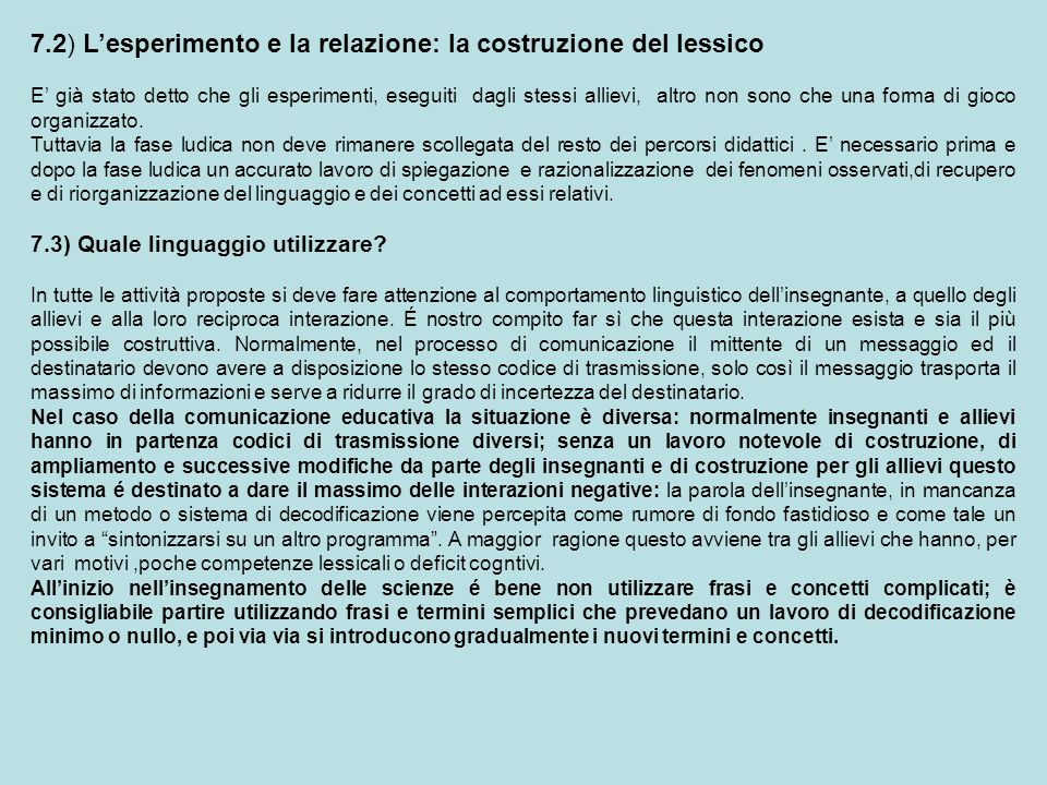 7.2) L'esperimento e la relazione: la costruzione del lessico
