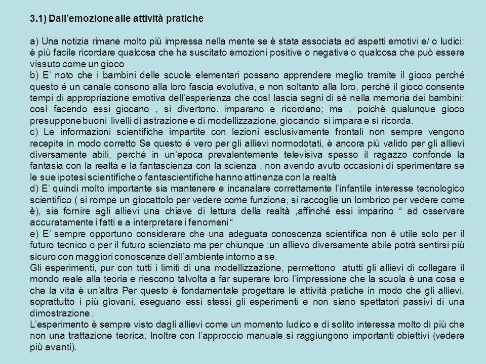 3.1) Dall'emozione alle attività pratiche