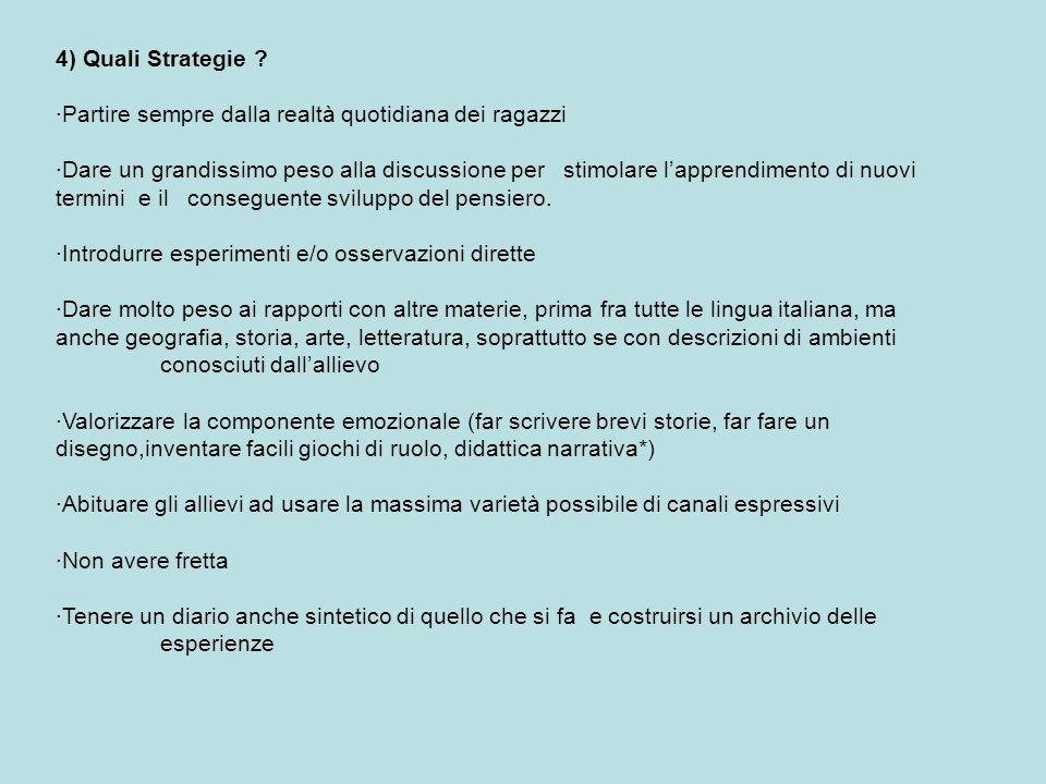 4) Quali Strategie ·Partire sempre dalla realtà quotidiana dei ragazzi.