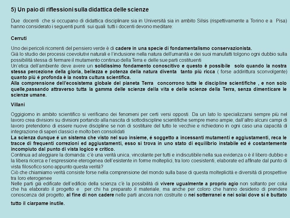 5) Un paio di riflessioni sulla didattica delle scienze