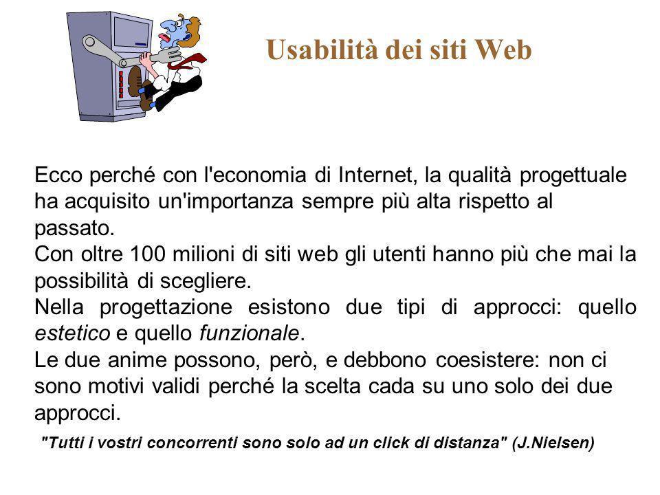 Usabilità dei siti Web Ecco perché con l economia di Internet, la qualità progettuale ha acquisito un importanza sempre più alta rispetto al passato.
