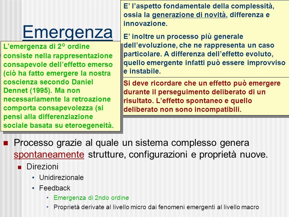 Emergenza E' l'aspetto fondamentale della complessità, ossia la generazione di novità, differenza e innovazione.