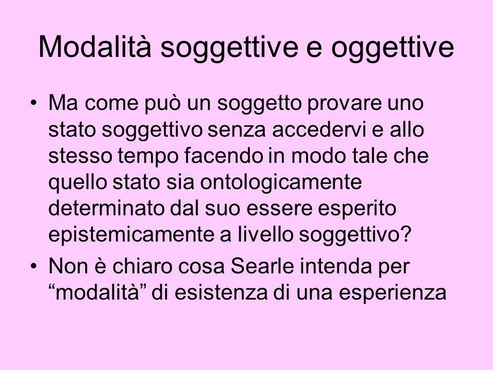 Modalità soggettive e oggettive
