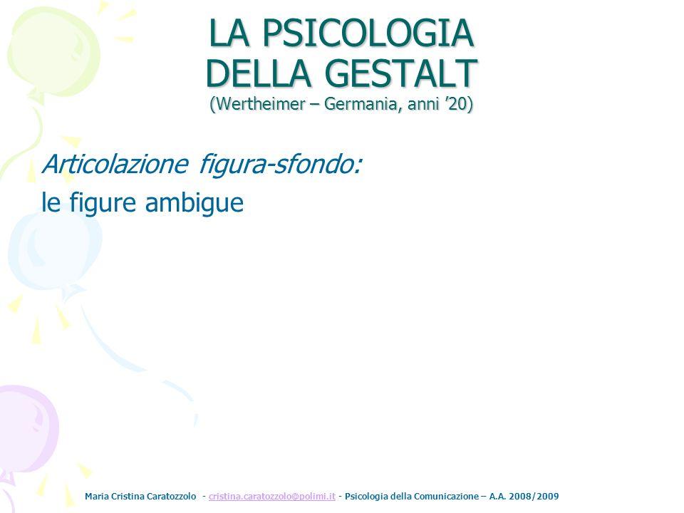LA PSICOLOGIA DELLA GESTALT (Wertheimer – Germania, anni '20)