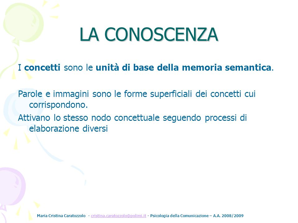 LA CONOSCENZA I concetti sono le unità di base della memoria semantica. Parole e immagini sono le forme superficiali dei concetti cui corrispondono.