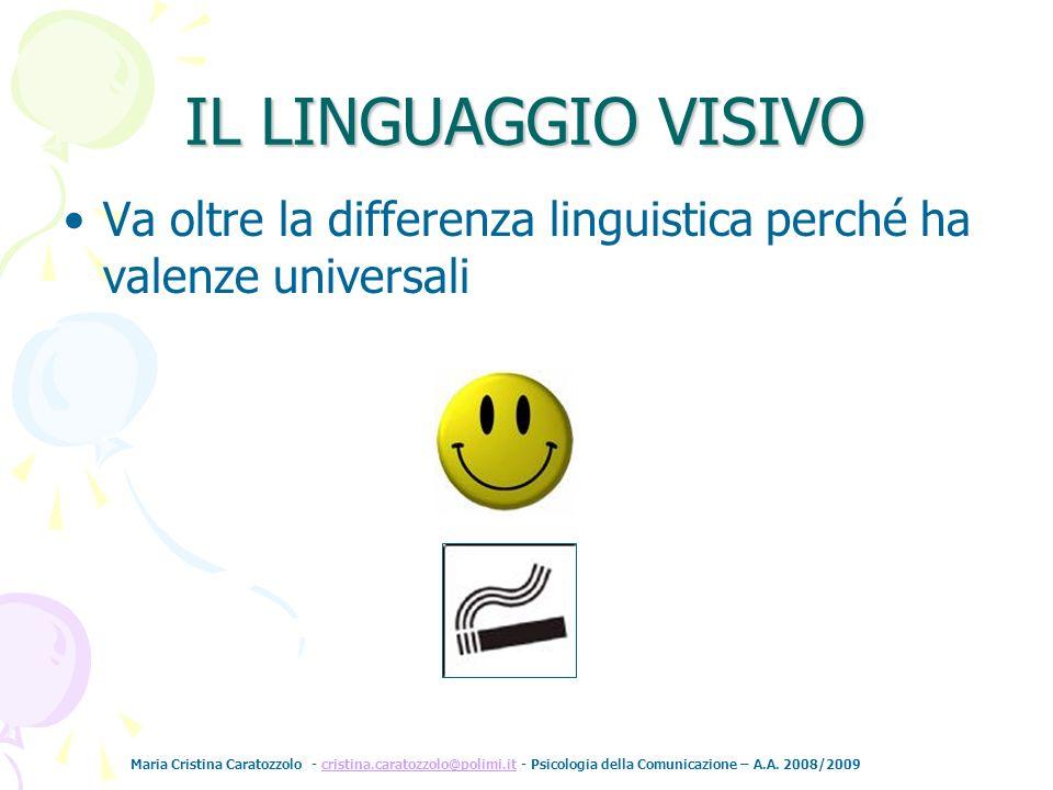 IL LINGUAGGIO VISIVO Va oltre la differenza linguistica perché ha valenze universali