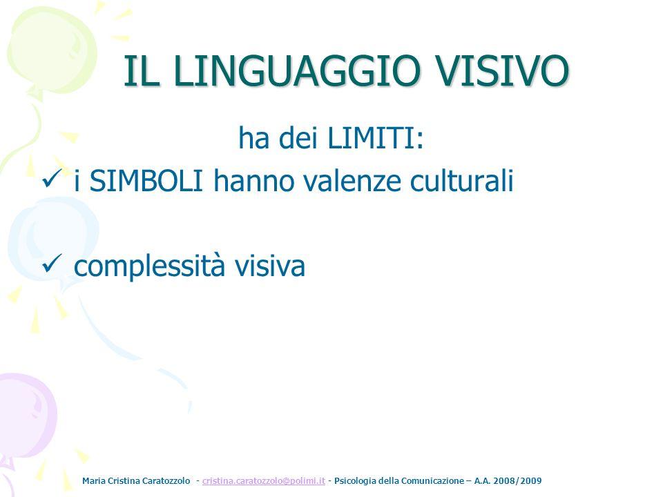 IL LINGUAGGIO VISIVO ha dei LIMITI: i SIMBOLI hanno valenze culturali