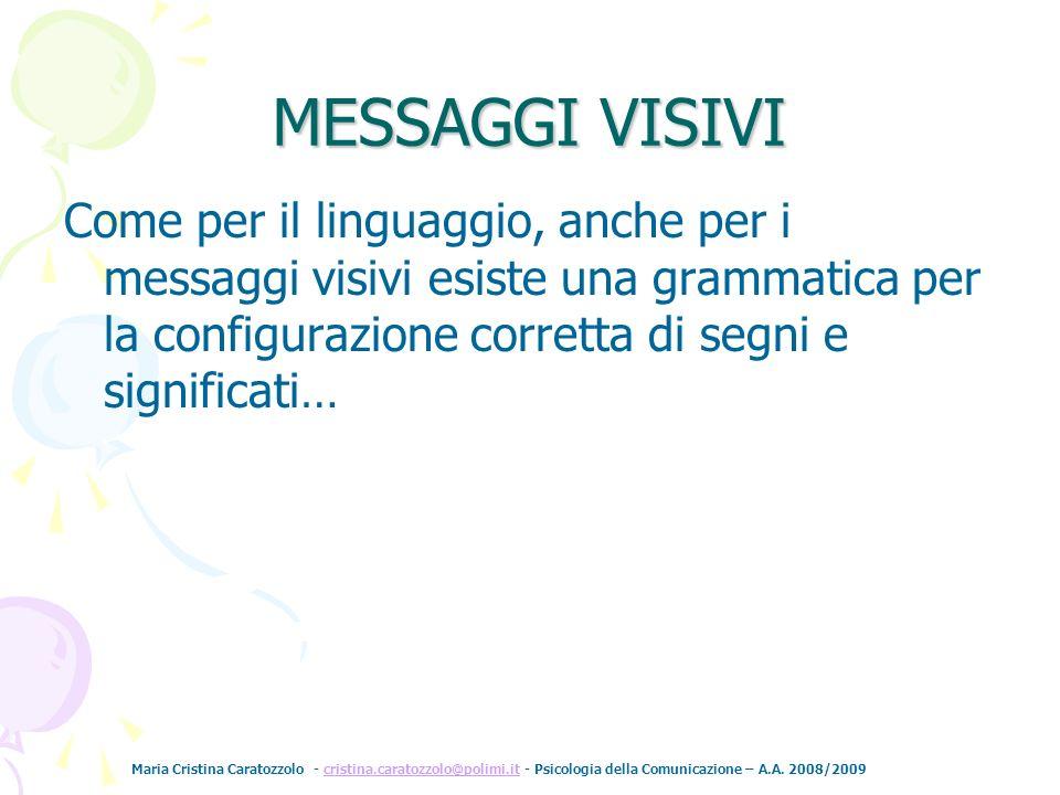 MESSAGGI VISIVI Come per il linguaggio, anche per i messaggi visivi esiste una grammatica per la configurazione corretta di segni e significati…