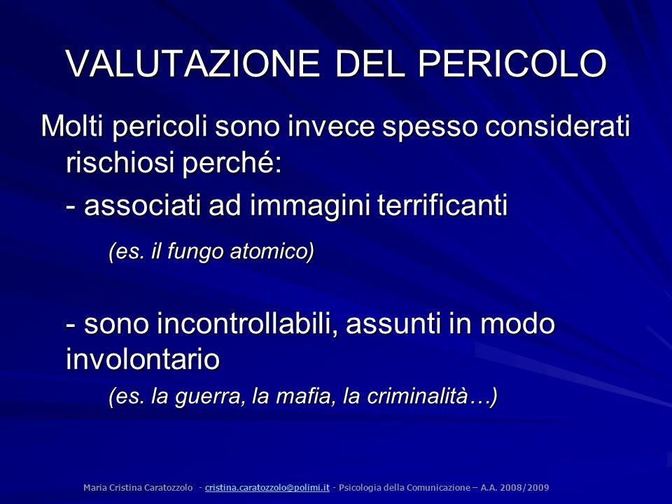 VALUTAZIONE DEL PERICOLO
