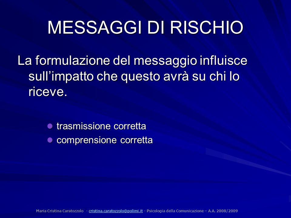 MESSAGGI DI RISCHIO La formulazione del messaggio influisce sull'impatto che questo avrà su chi lo riceve.