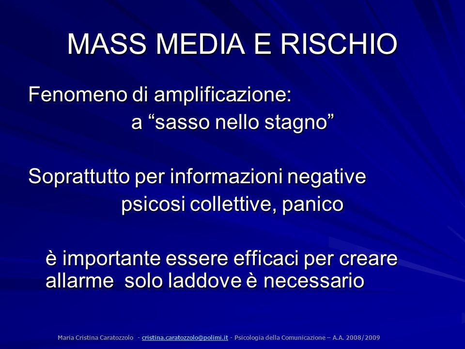 MASS MEDIA E RISCHIO Fenomeno di amplificazione: